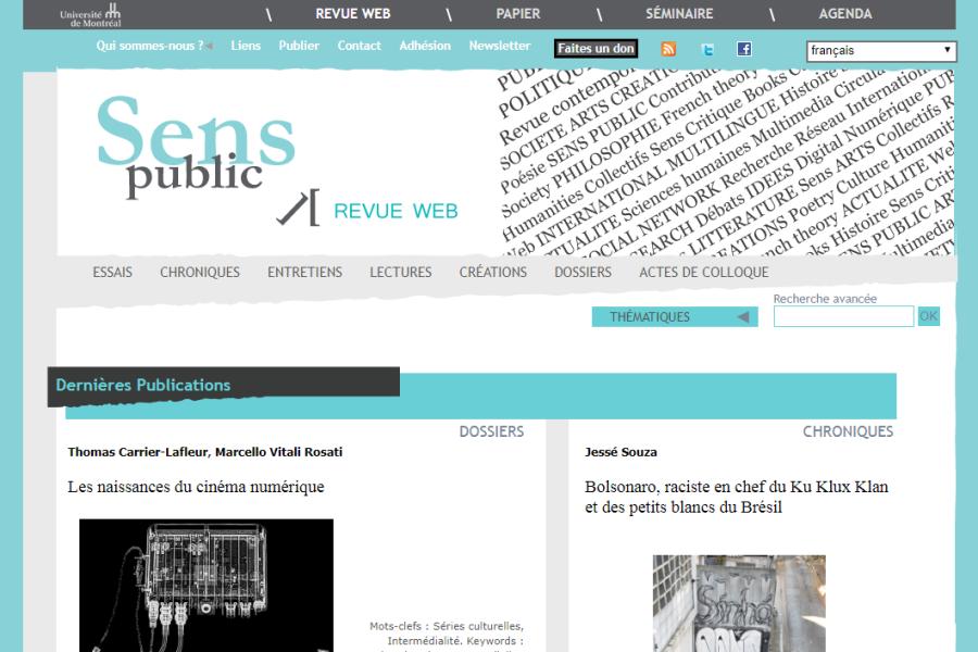 Page d'accueil de la revue Sens Public