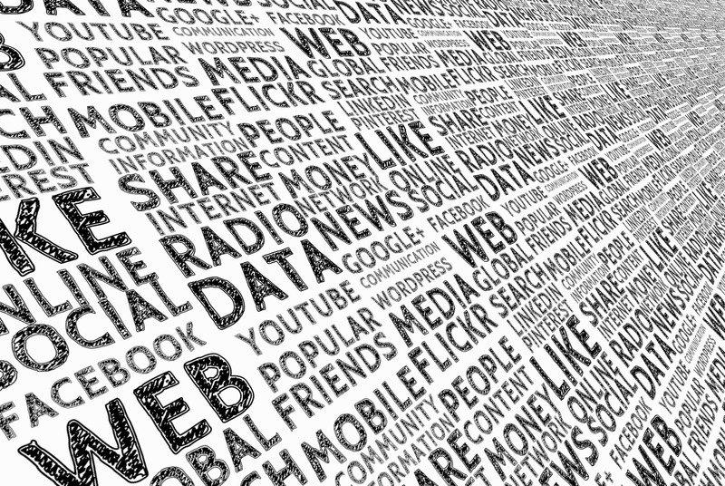Web social en mots, noir et blanc
