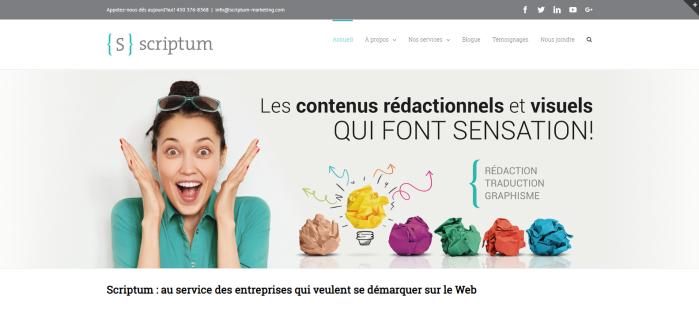 Page d'accueil du site Web de Scriptum