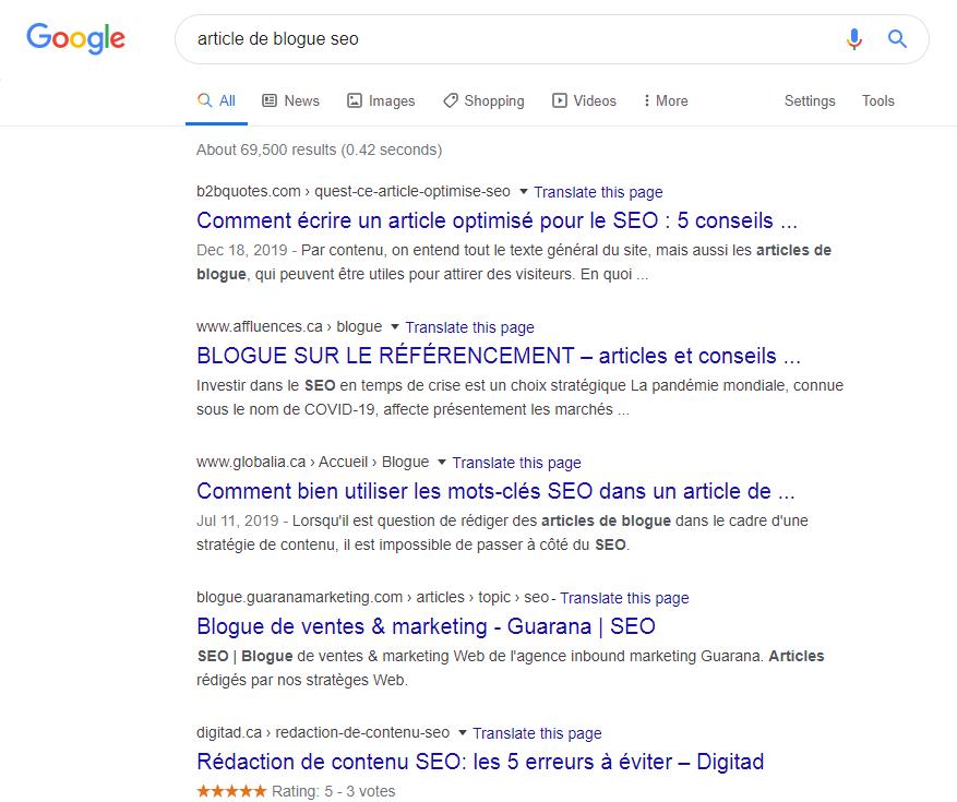 Résultats de recherche « article de blogue seo »