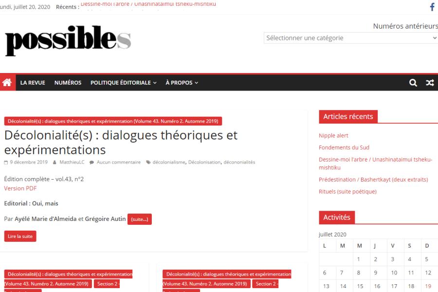 Page d'accueil du site Web de la revue Possibles