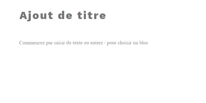 Ajout d'un titre dans un article de blogue WordPress