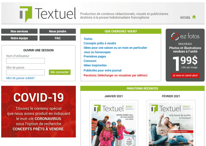 Page d'accueil du site de Textuel