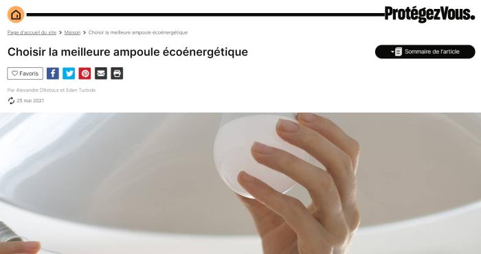 """Article """"Choisir la meilleure ampoule écoénergétique"""" sur le site de Protégez-Vous"""