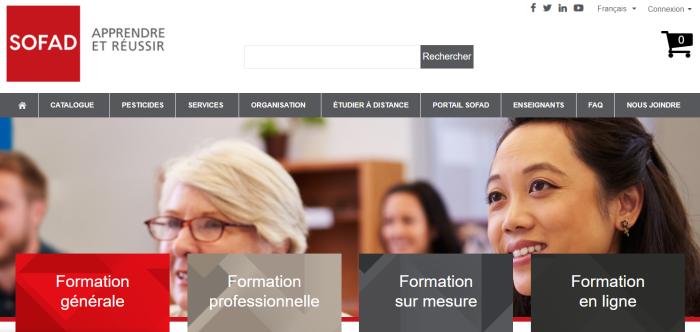Page d'accueil du site de la SOFAD